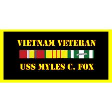 USS Myles C Fox Vietnam Veteran License Plate
